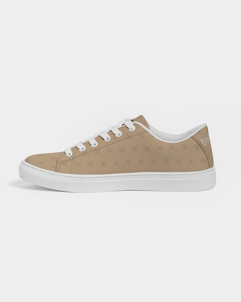 Renaissance Apparel Beige Designer Men's Faux-Leather Sneaker