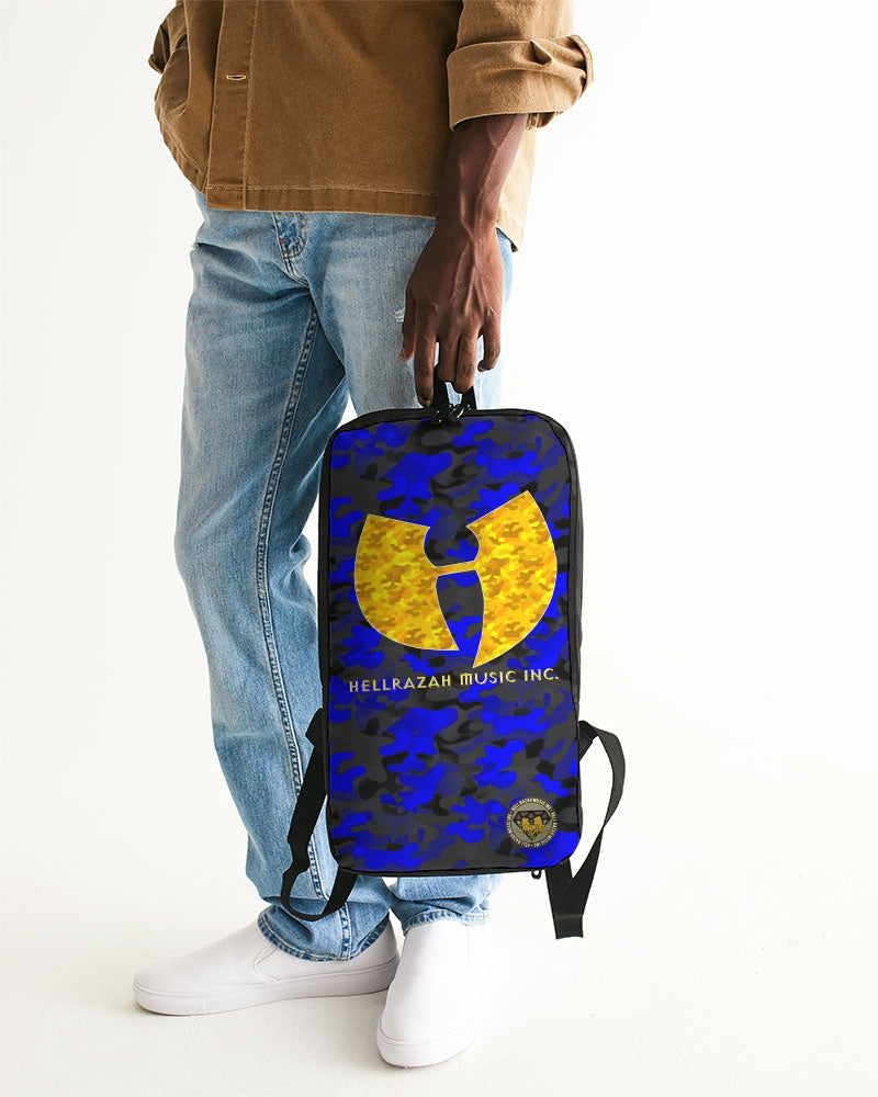 Blue Camo HRMI Logo Designer Slim Tech Backpack