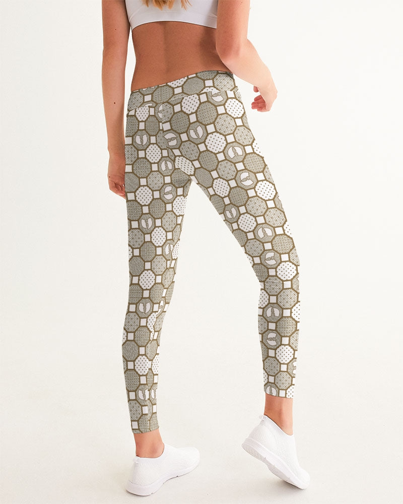 HRMI Cream Patterned Women's Yoga Pants