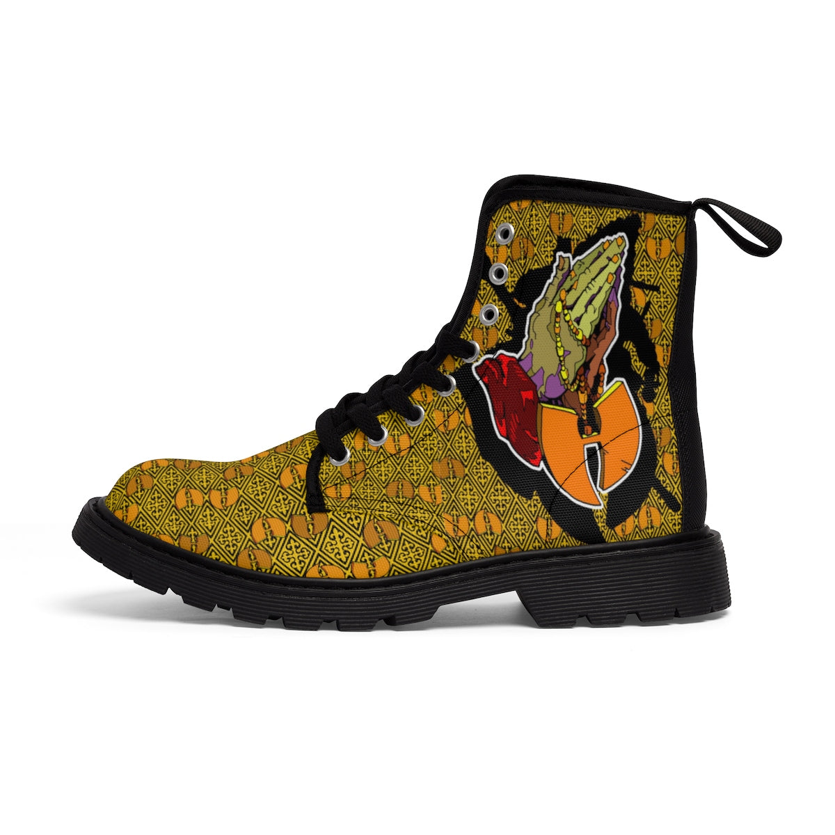 Official Hell Razah Praying Hands Emblem Designer Men's Martin Boots Art by iHustle365_