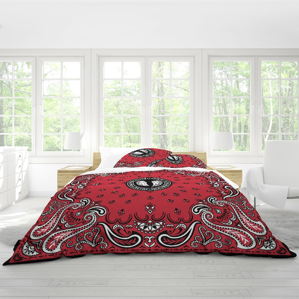 HRMI Red Bandana Designer Logo Queen Duvet Cover Set Official HellRazah Music Inc