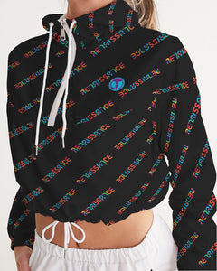 Renaissance Apparel Colorful Text Designer Women's Cropped Windbreaker
