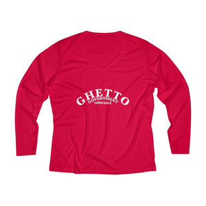 Ghetto Gov't Officialz Designer Logo Women's Long Sleeve Performance V-neck Tee HeavenRazah / Hell Razah