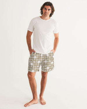 HRMI Cream Patterned Men's Swim Trunk