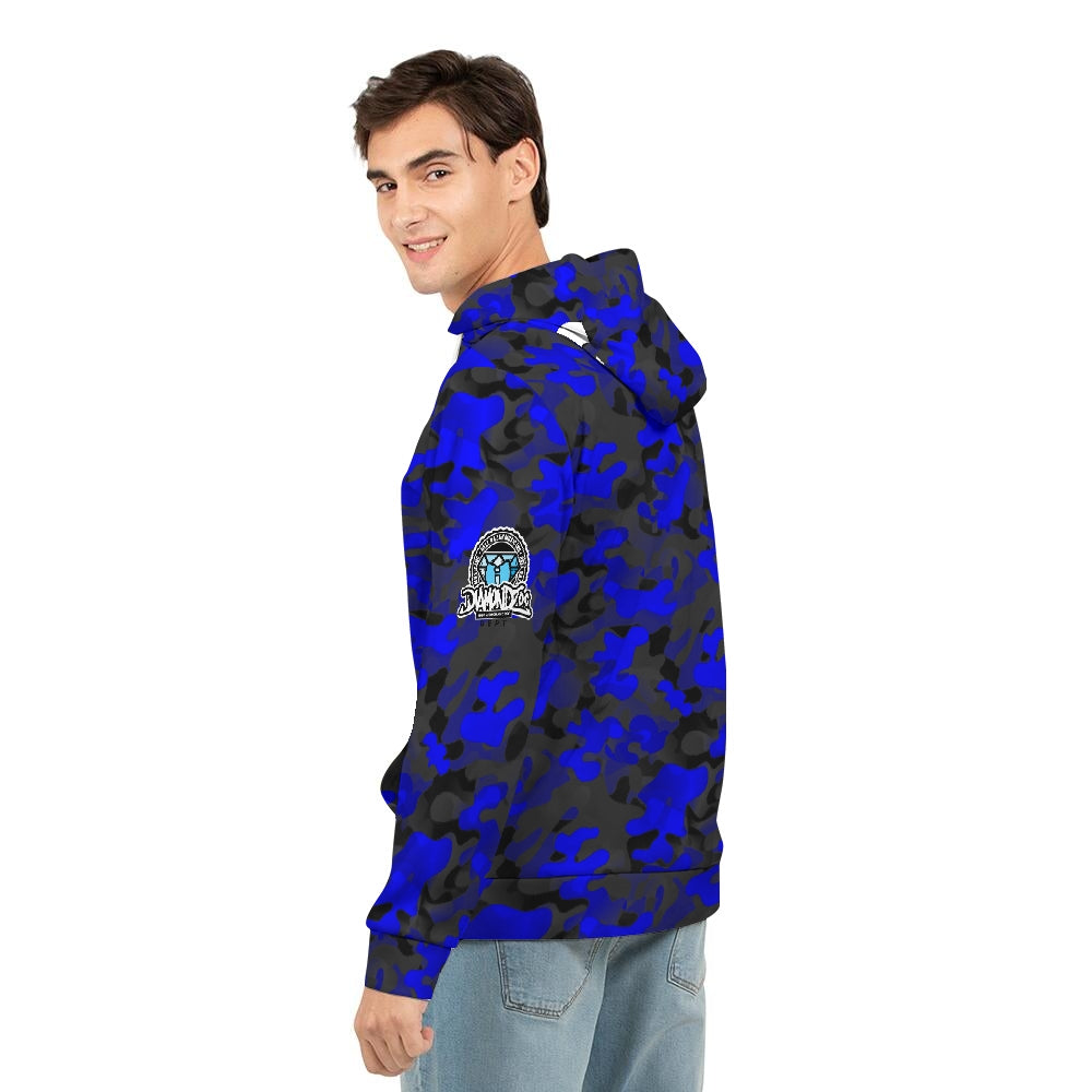 HRMI Loyalty Is Silence HellRazah Music Inc Blue Camo Men's Hoodie