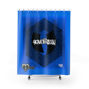 HRMI Heavenz Maze Blue Limited Edition  Shower Curtains Official HellRazah Music Inc