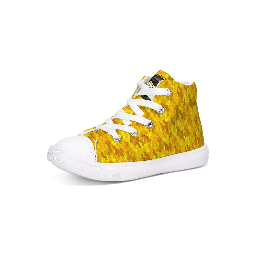 HRMI Logo Golden Camo Kids Hightop Canvas Shoes HellRazah Mueic Inc