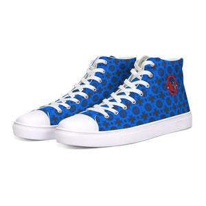 Renaissance Apparel Blue Designer Hightop Canvas Shoe