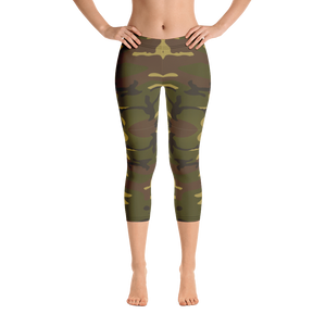 Official Heaven Razah / Hell Razah Music Logo Camo Designer Capri Leggings