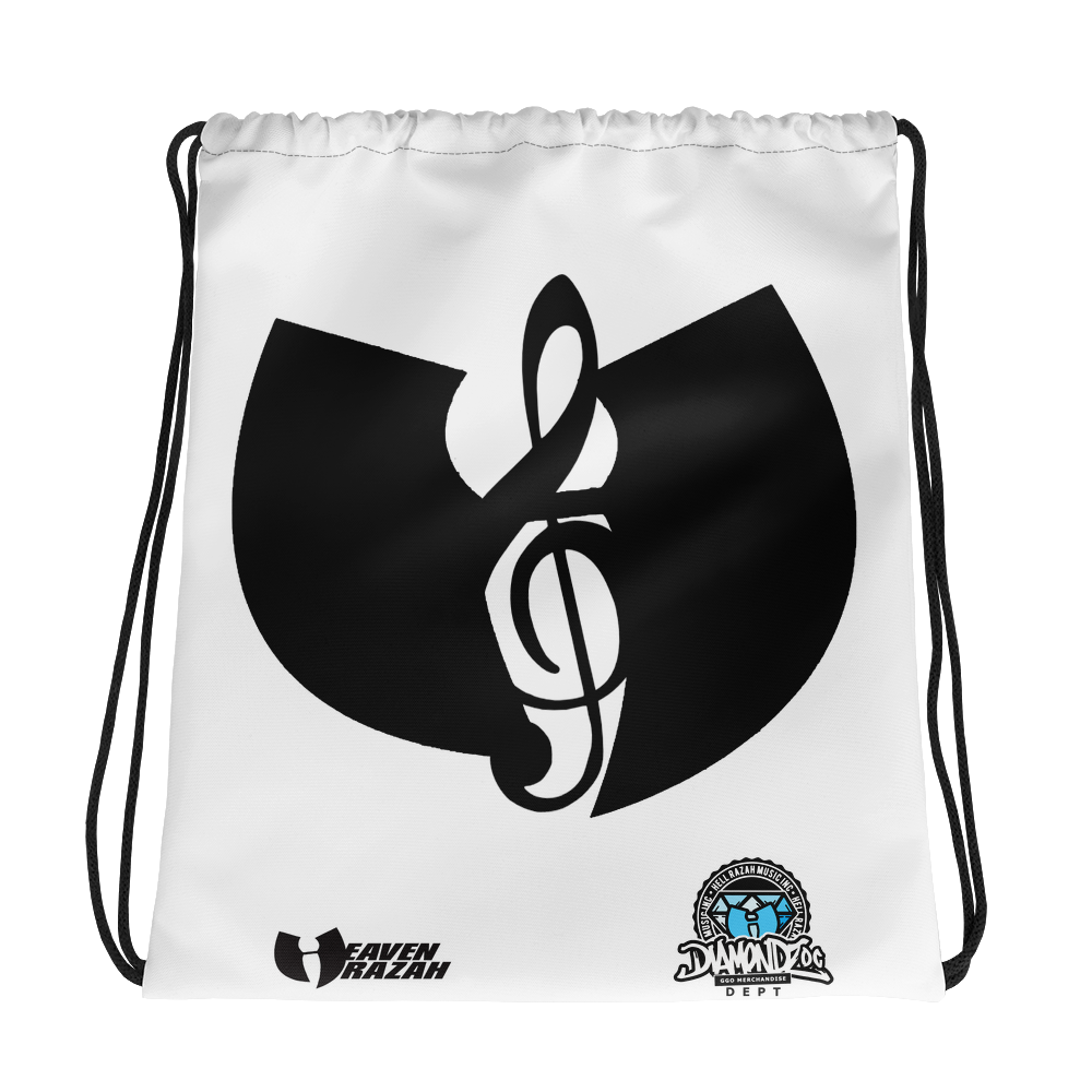 Official HellRazah Music Inc Designer Drawstring Bag HeavenRazah Merchandise Graphics by SmuveMassBeatz