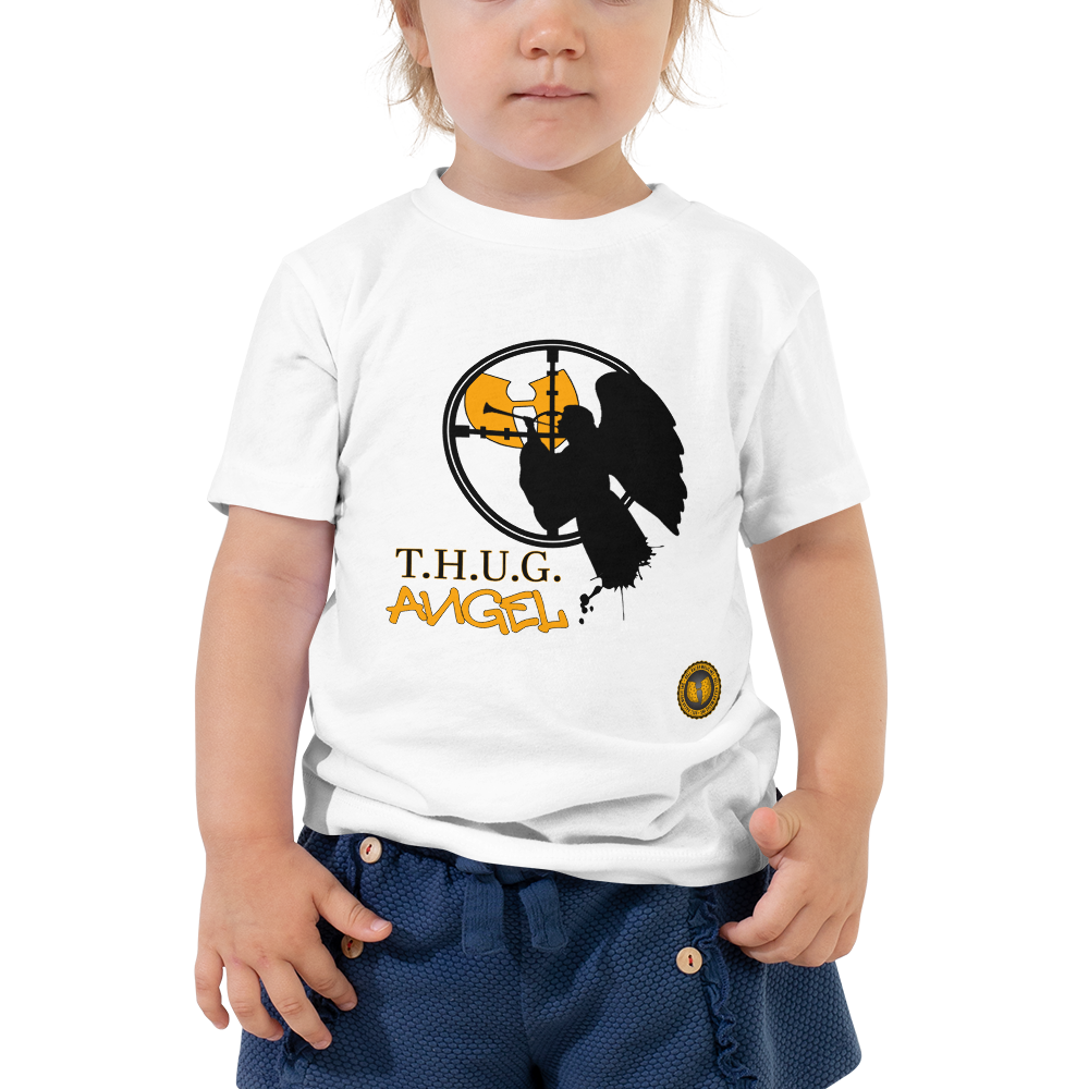 Official HellRazah Music Inc Youth Design T.H.U.G. Angel Toddler Short Sleeve Tee HeavenRazah Merch Graphics by iHustle365