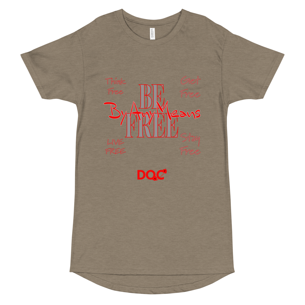 FREE By Any Means in RED designed by DOC Urban Long Body Tshirt Bella + Canvas Tee