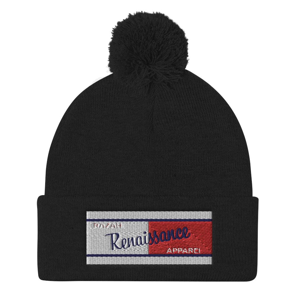 Razah Renaissance Apparel Red White Blue Embroidered Beanie - Pom Pom Knit Cap
