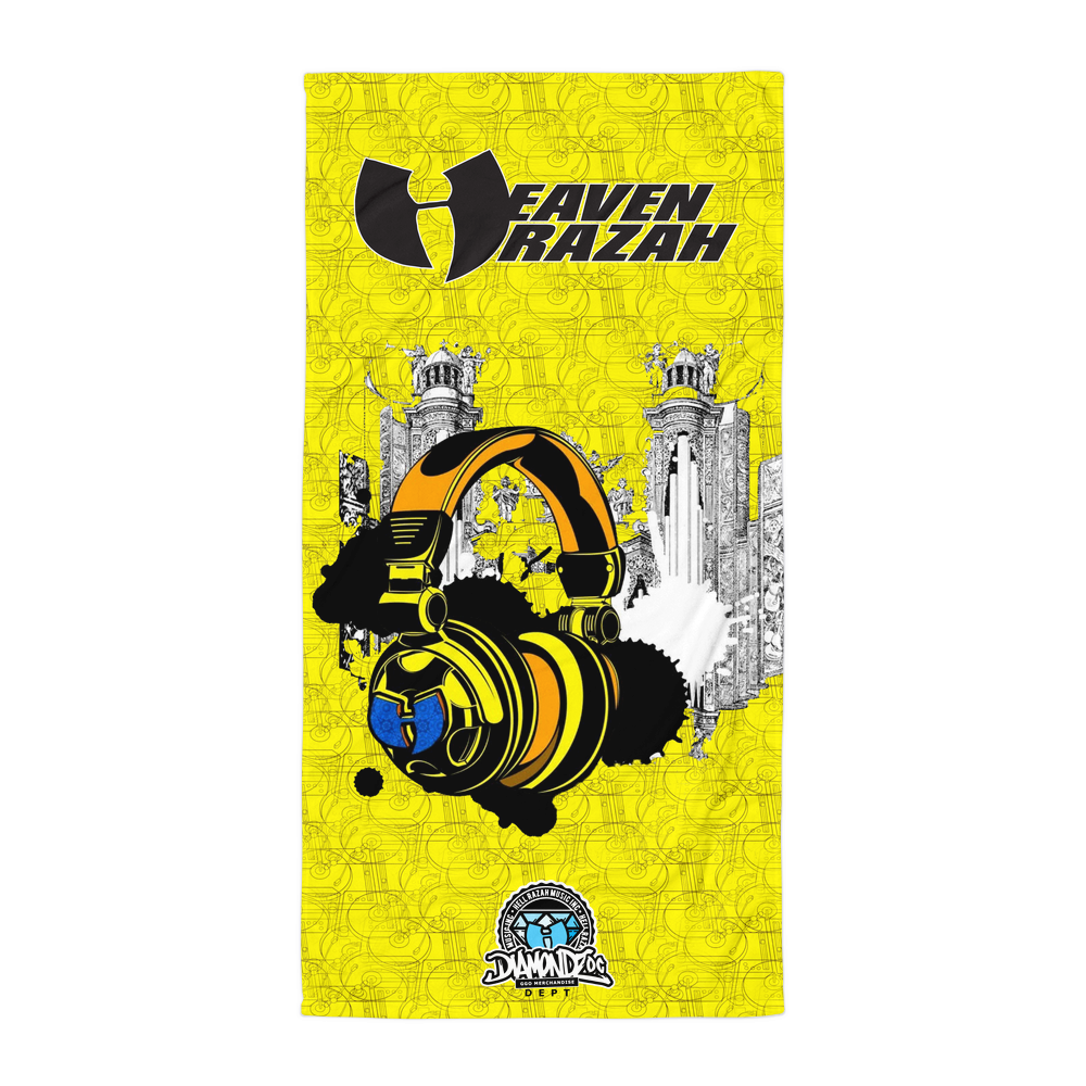 Official HellRazah Music Inc Limited Edition Headphones Designer Beach Towel HeavenRazah Merchandise Graphics by iHustle365