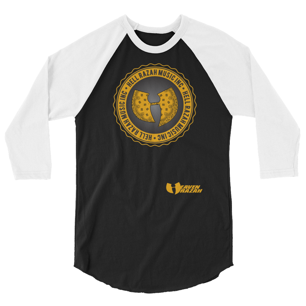Official Hell Razah Music Inc Logo Designer Tee 3/4 sleeve raglan shirt