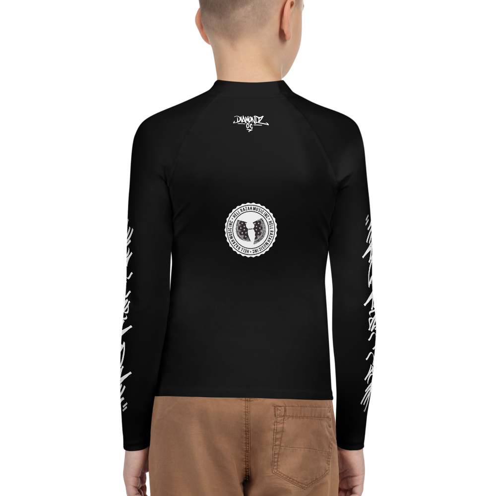 Official HellRazah Music Inc. Skateboarding Tagger Style Athletic Unisex Youth Rash Guard HeavenRazah Merch Graphics by Sly Ski Original