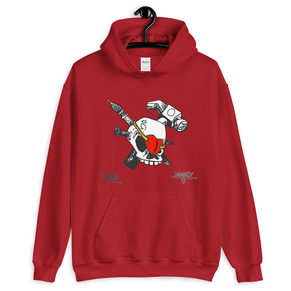 iHustle365 Skull & Heart Soft Hoodie Designer Hooded Sweatshirt