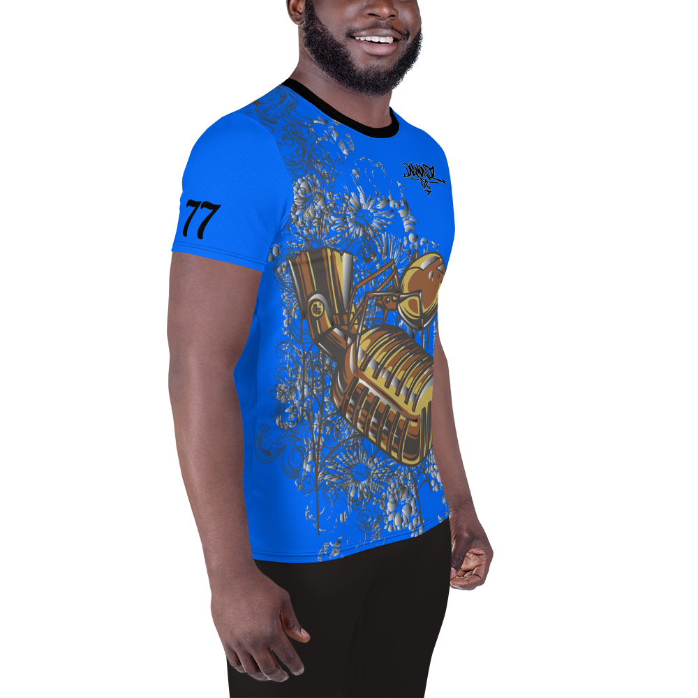 DiamondzOC Golden Mic Blue Sublimated Designer Soft Athletic T-shirt Tee