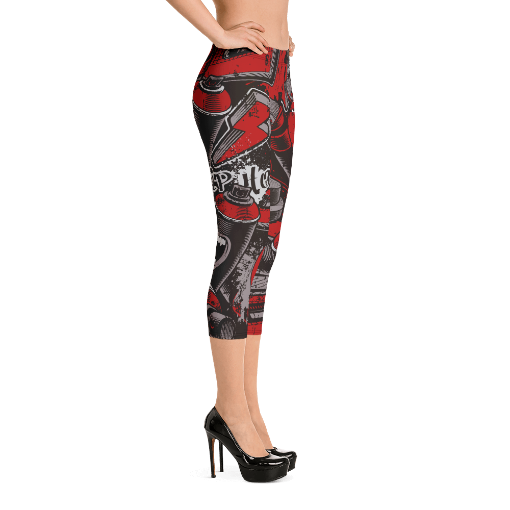 Speakers and Cans Urban Graffiti Diamondz OC Designer Capri Leggings