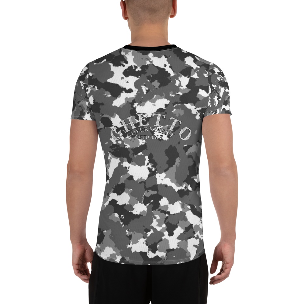 Ghetto Gov't Officialz Logo Snow Camo Designer Sublimated Men's Athletic Tee Breathable T-Shirt