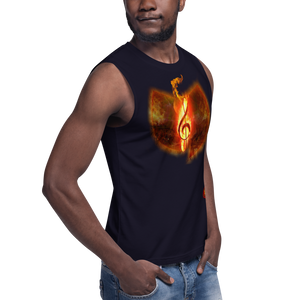 Official Hell Razah Music Inc. Fire Musical Note Designer Muscle Shirt Heaven Razah Merchandise Graphics by SmuveMassBeatz