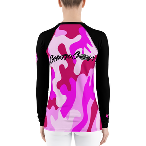Ghetto Govt Officialz Heaven Razah Pink Camo Designer Athletic Women's Rash Guard