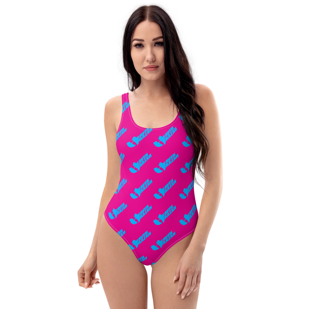 HeavenRazah Signature Patterned Pink - Aqua One-Piece Swimsuit