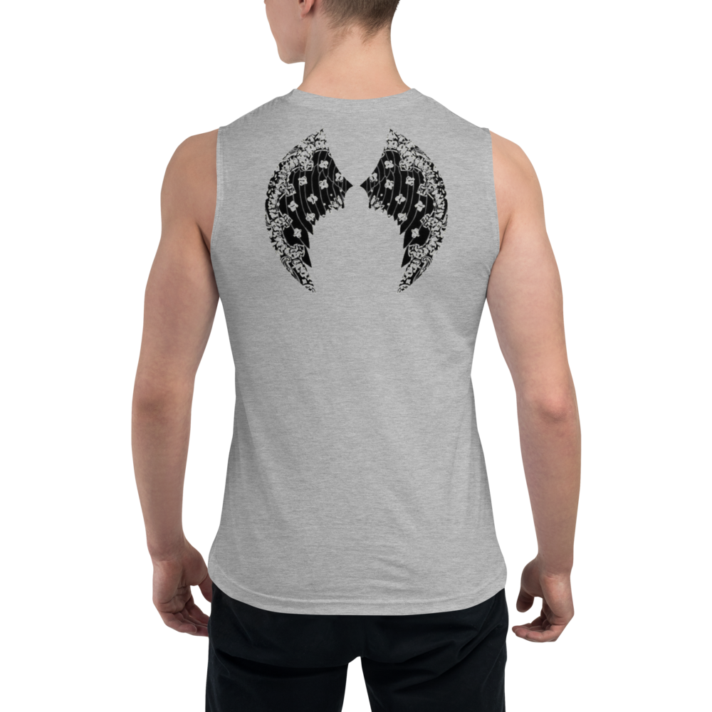 Limited Edition Hell Razah Music Inc. Cherub Angel Wings on back Muscle Shirt Graphics by Smuve Mass Beatz