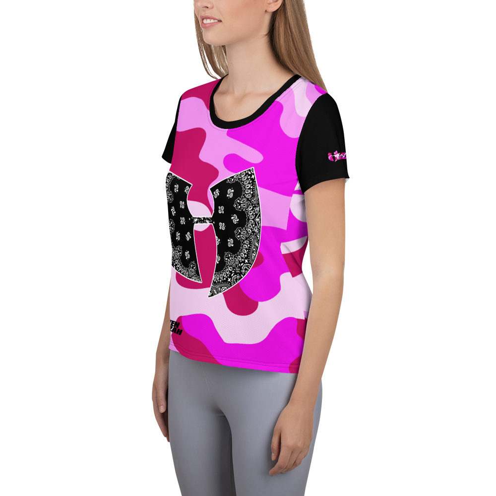 Official Heaven Razah / Hell Razah Music Pink Camo Short Sleeve Designer Women's Athletic T-shirt