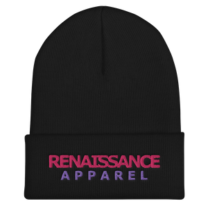 RRA Razah Renaissance Apparel Embroidered Pink - Purple Signature Cuffed Beanie