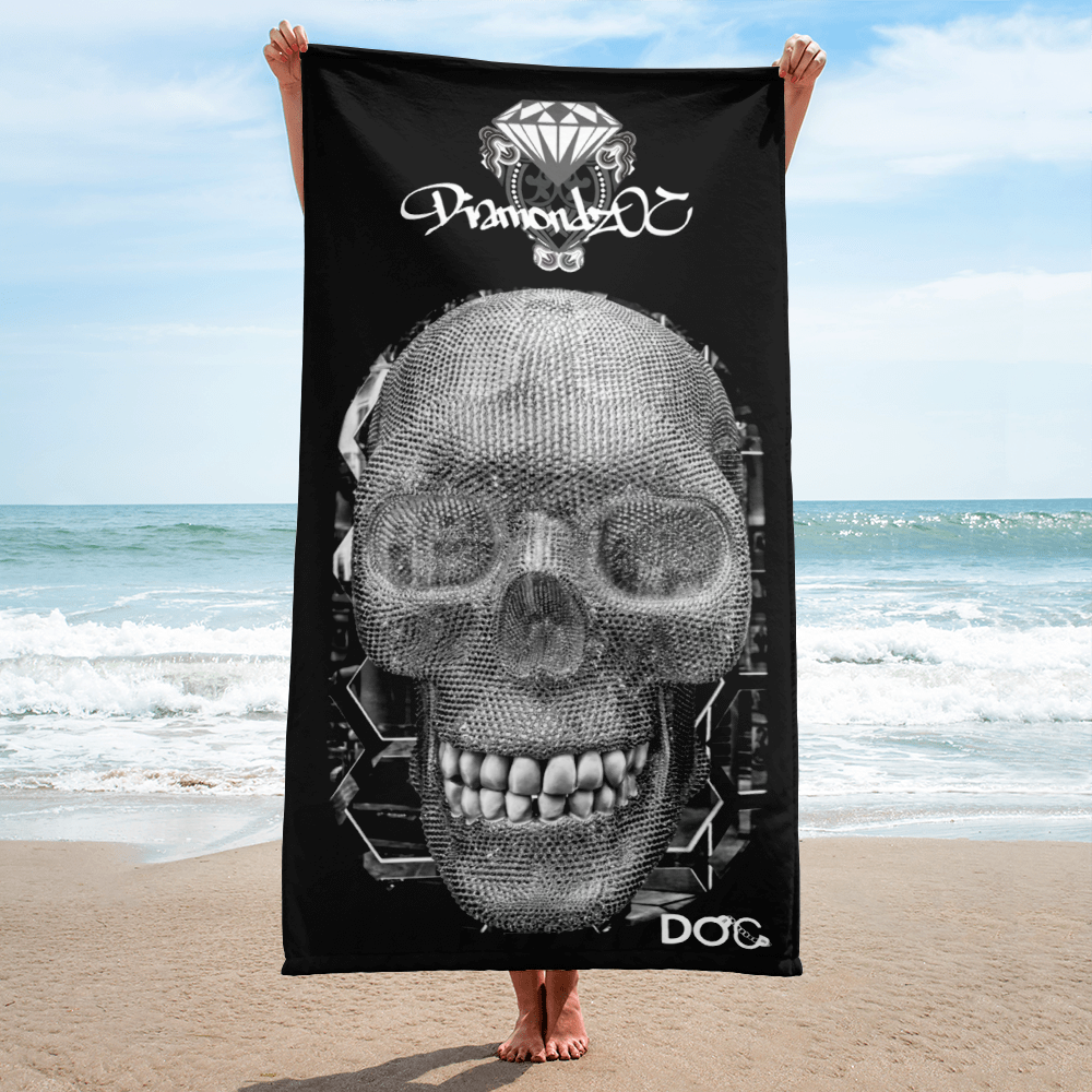 Diamondz Skull Designer Soft Sublimated Beach Towel
