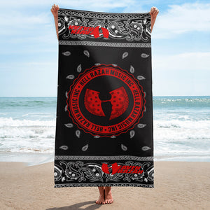 Hell Razah Music Inc Black Bandana Logo Designer Towel Beach Size Graphics by Culture Freedom