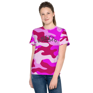 Ghetto Gov't Officialz Pink Camo Unisex Youth Designer Tee - T-Shirt Sizes 8-20