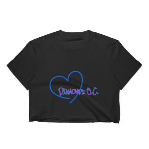Heart Diamondz OC Womans Crop Top Los Angeles Apparel 2332 Fine Jersey Short Sleeve Cropped T-Shirt
