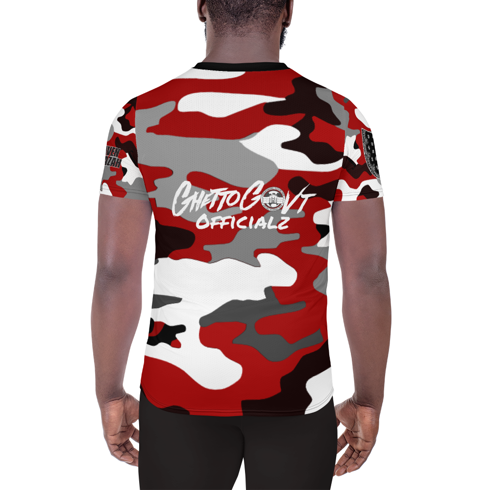 Ghetto Gov't Officialz Red Camo Heaven Razah / Hell Razah Music Designer Men's Athletic T-shirt