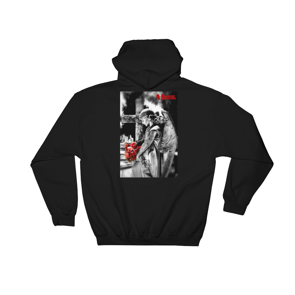 Heaven Razah / Hell Razah Music Angel in front of Burning Cross Urban Hoodie Jacket Hooded Sweatshirt