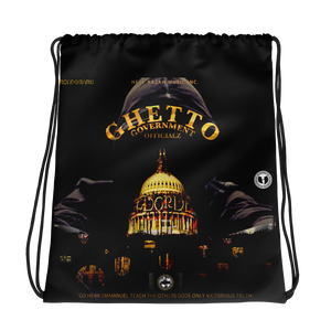 GHETTO GOV'T OFFICIALZ Capitol Building Limited Designer Drawstring Bag HeavenRazah - HellRazah Music Inc. Graphics by GGO Switzerland