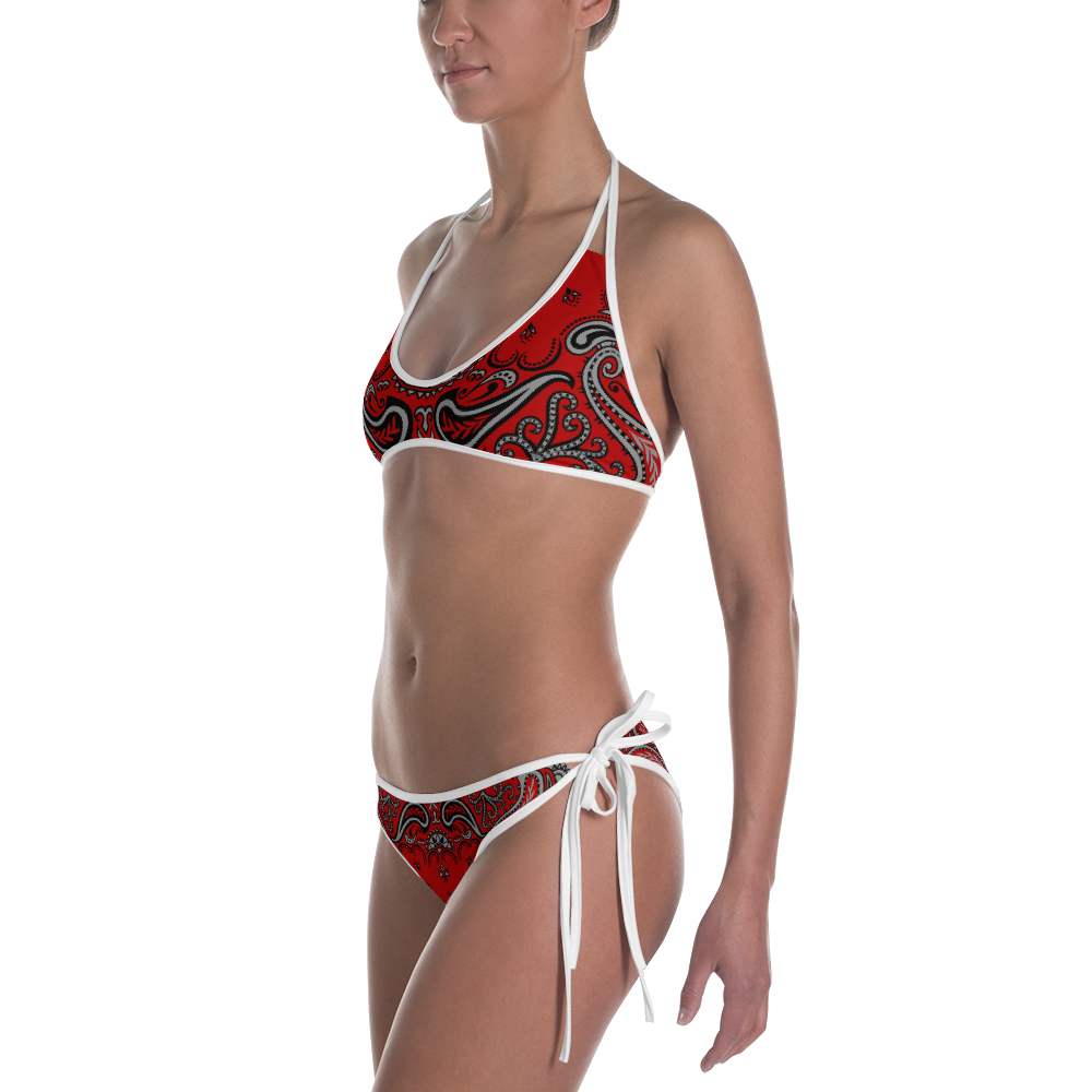 Ghetto Gov't Officialz Red - Black Bandana Logo Designer 2 Piece Bikini