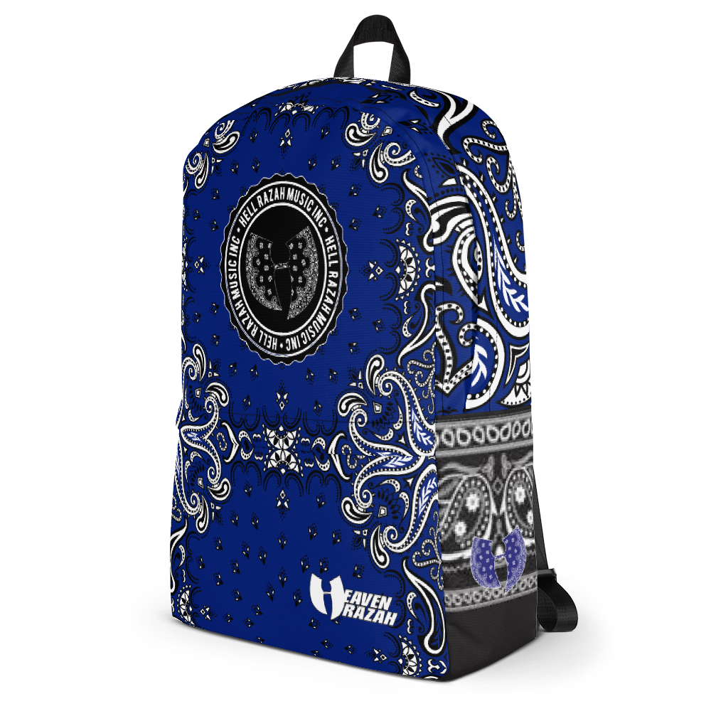 Official Hell Razah Music Inc / Heaven Razah Laptop Carry Bag Blue Bandana Logo Designer Backpack