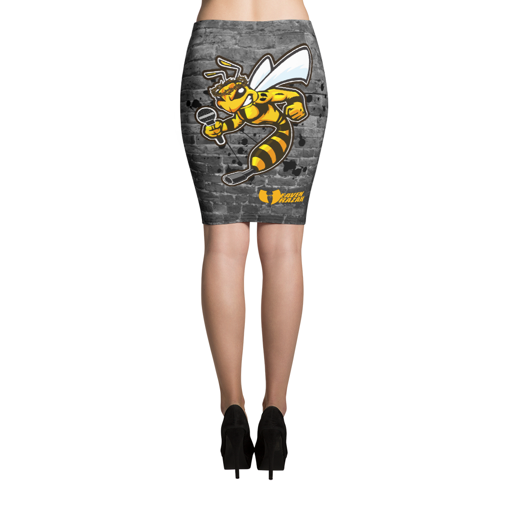 Official Heaven Razah / Hell Razah Music Inc Killer Bee Designer Pencil Skirt Graphics by Culture Freedom