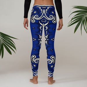 DiamondzOC Blue Bandana Logo Designer Yoga Pants - Leggings