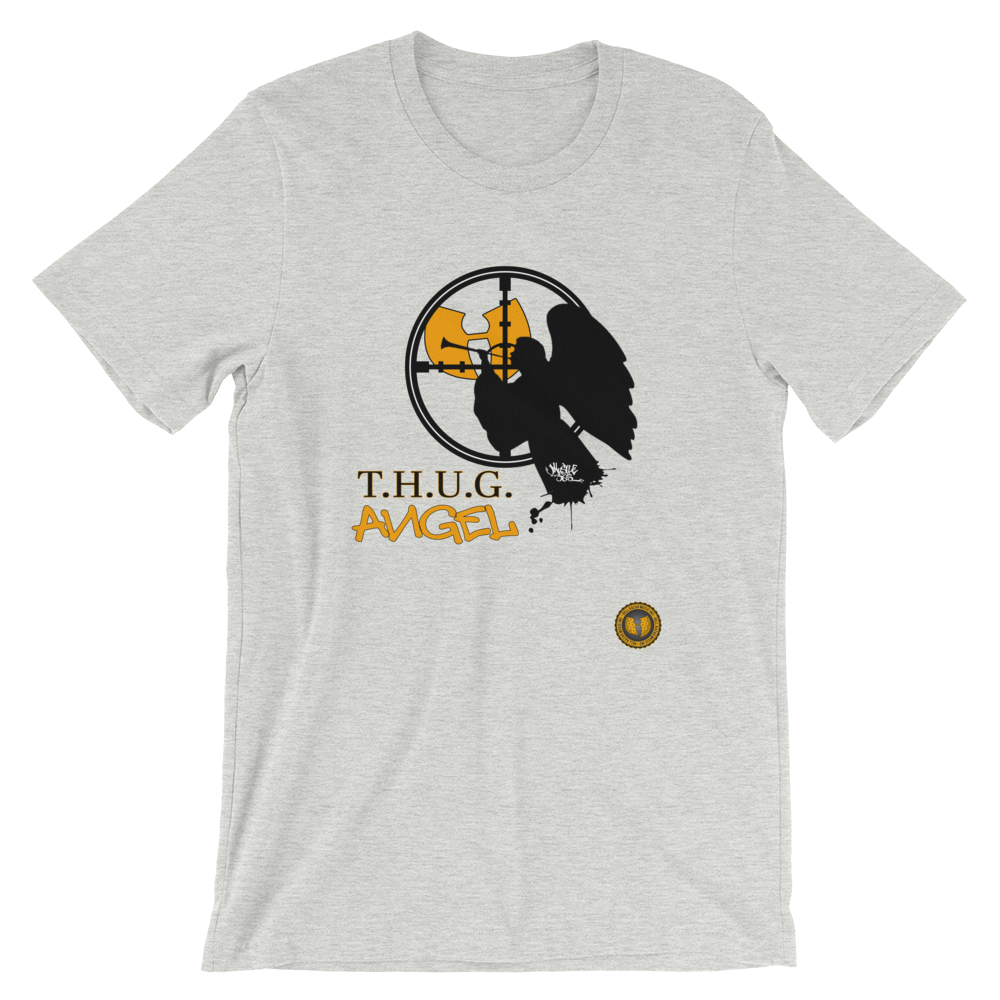 Official Hell Razah Music Inc T.H.U.G. Angel Designer Tee Short-Sleeve Unisex T-Shirt Graphics by iHustle365_ Heaven Razah Merch