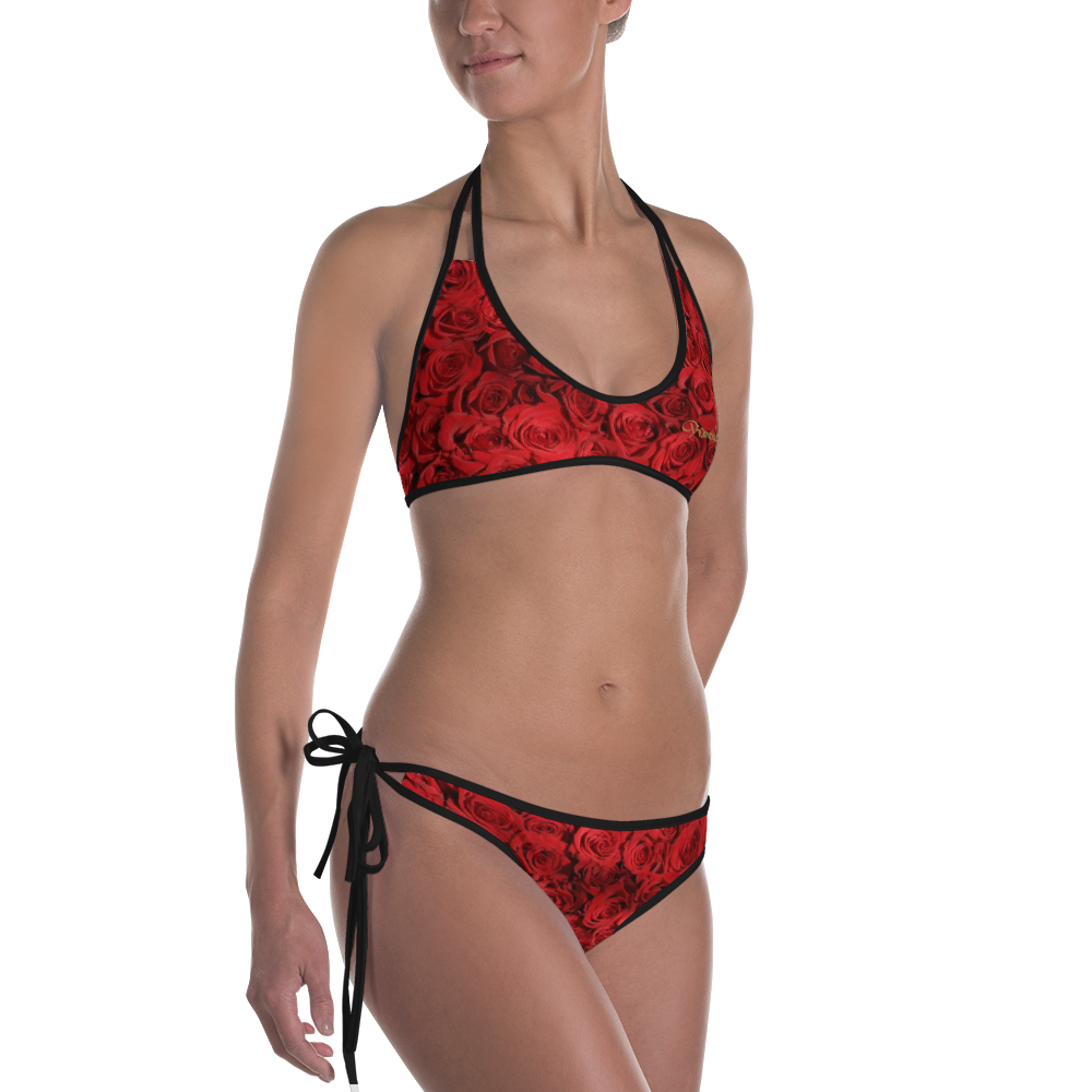 Red Roses Reversible Designer 2 Piece Bikini Swimsuit Beachwear by DOC