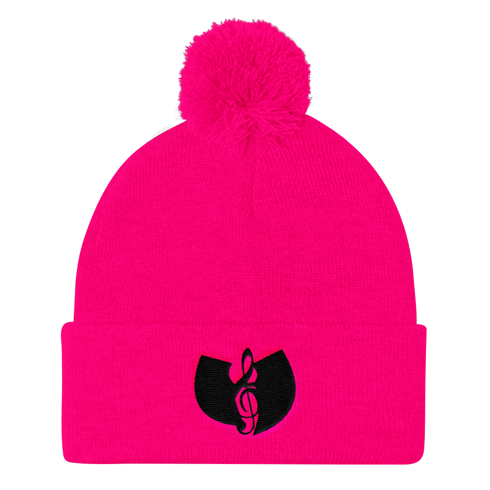 Official Hell Razah Music Inc. Smuve Note Logo Designer Embroidered Pom Pom Knit Cap Heaven Razah Merch Graphics by SmuveMassBeatz