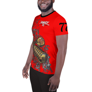 DiamondzOC Golden Mic Red Designer Sublimated Athletic T-shirt Tee