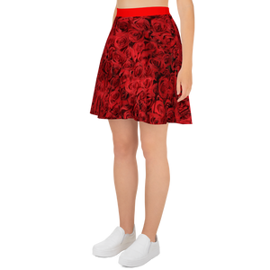 Woman's Rose Print Designer Skater Skirt by DiamondzOC