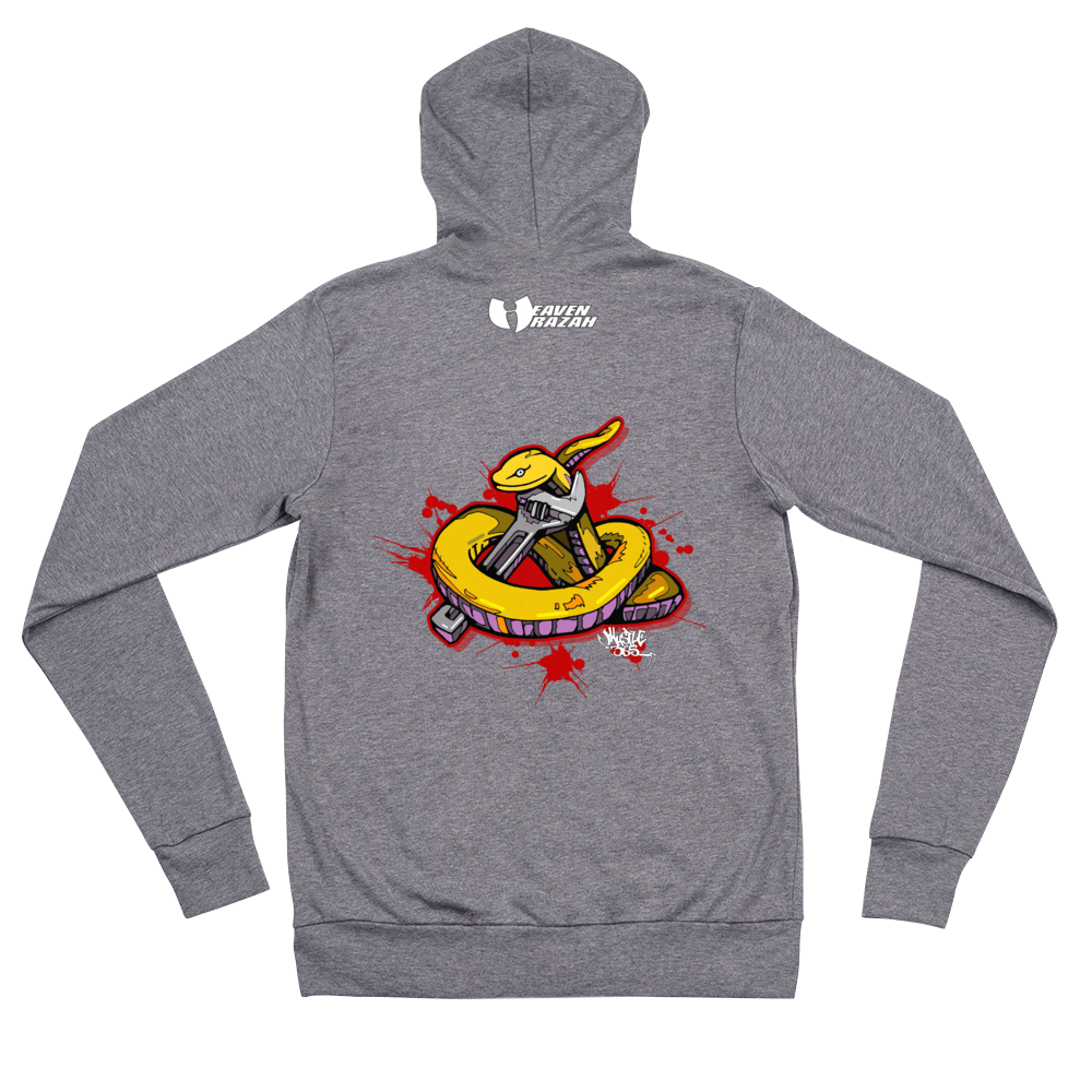 Official Hell Razah Music Inc Snakes Get Wrenched Designer Lightweight Hooded Jacket Unisex Zip Hoodie Graphics by iHustle365_