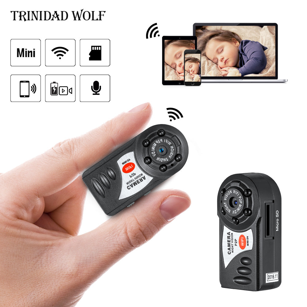HD720P Q7 Mini Camera Wifi Infrared Night Vision Small Camera DV DVR Wireless IP Cam Video Camcorder Recorder Support TF Card