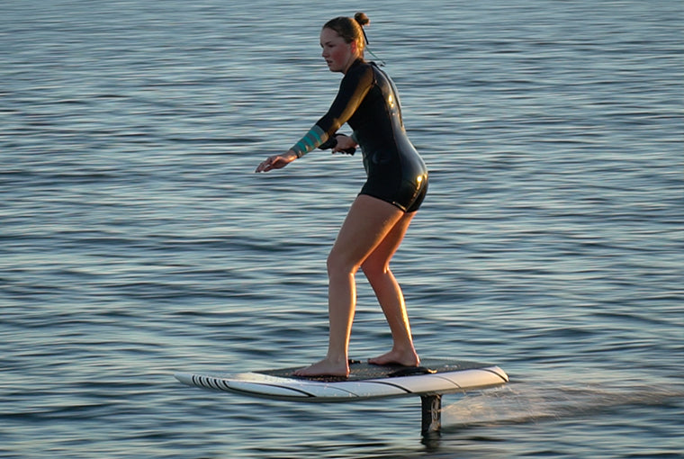 Coach Emma Cullen on her first efoil ride with Next Level Watersports in Stuart, FL