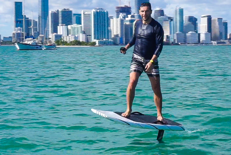 Martin Fuentes learning to efoil with Next Level Watersports in Miami, FL